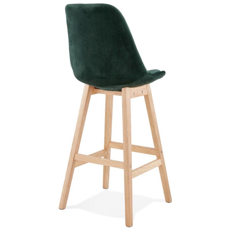 Tabouret de bar design scandinave en velours pieds couleur naturelle CAMY (vert) - image 45647