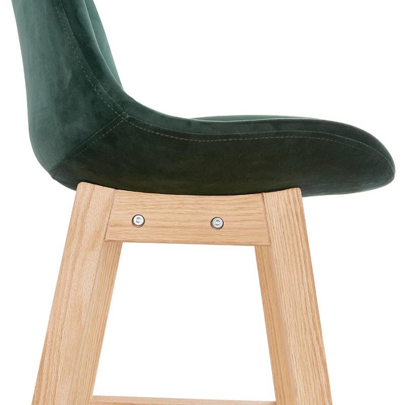 Tabouret de bar design scandinave en velours pieds couleur naturelle CAMY (vert) - image 45651