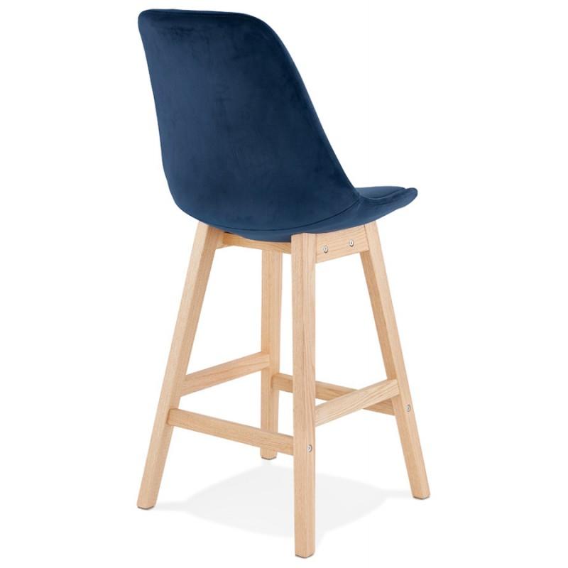 Tabouret de bar mi-hauteur design scandinave en velours pieds couleur naturelle CAMY MINI (bleu) - image 45657