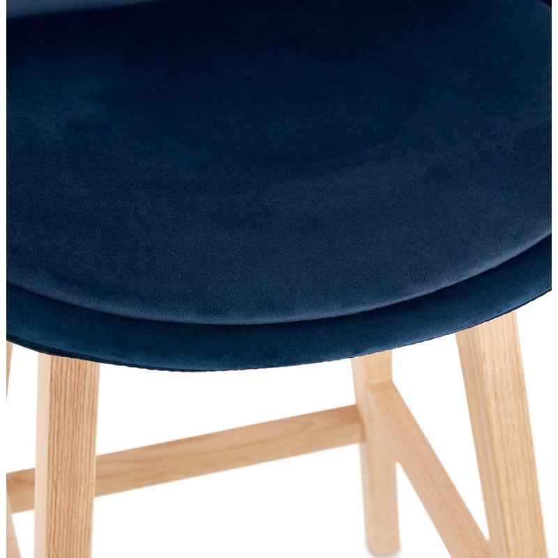 Tabouret de bar mi-hauteur design scandinave en velours pieds couleur naturelle CAMY MINI (bleu) - image 45660