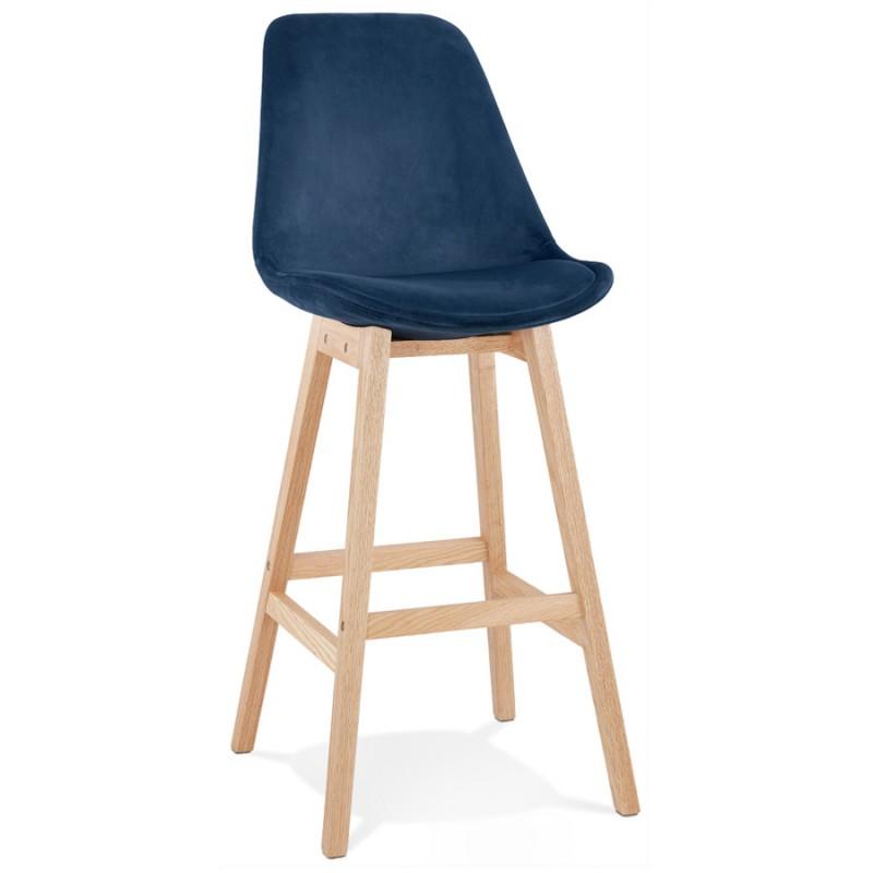 Taburete de barra de diseño escandinavo en pies de color natural CAMY (azul) - image 45664
