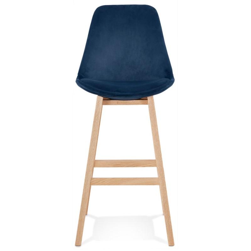 Tabouret de bar design scandinave en velours pieds couleur naturelle CAMY (bleu) - image 45665