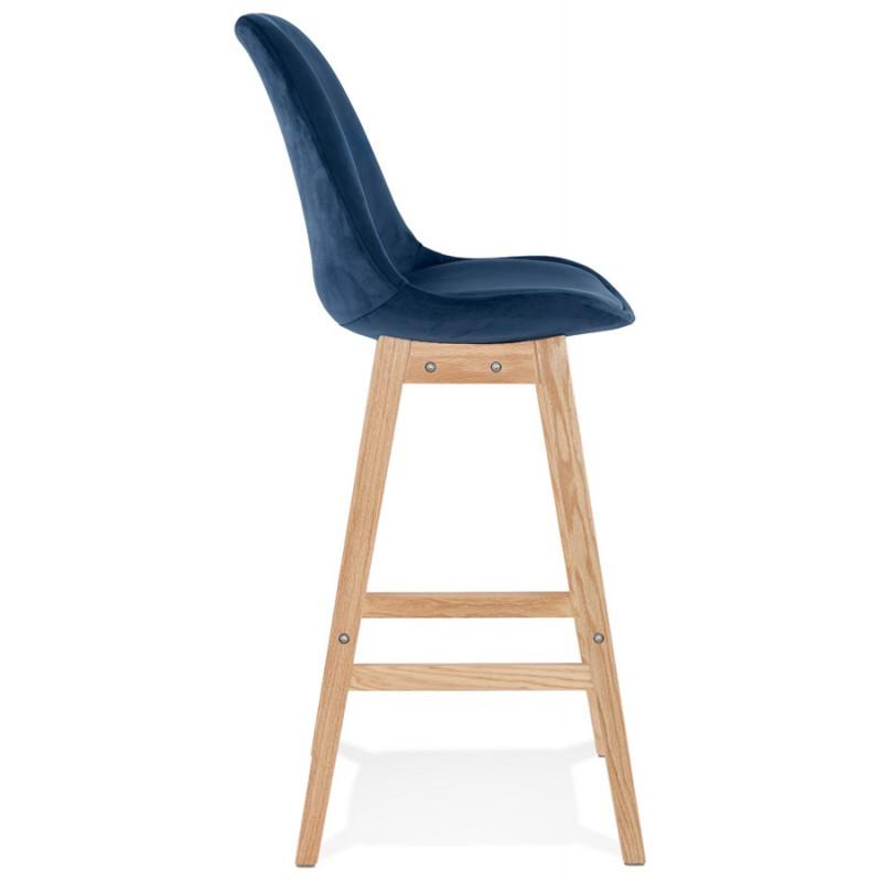 Taburete de barra de diseño escandinavo en pies de color natural CAMY (azul) - image 45666