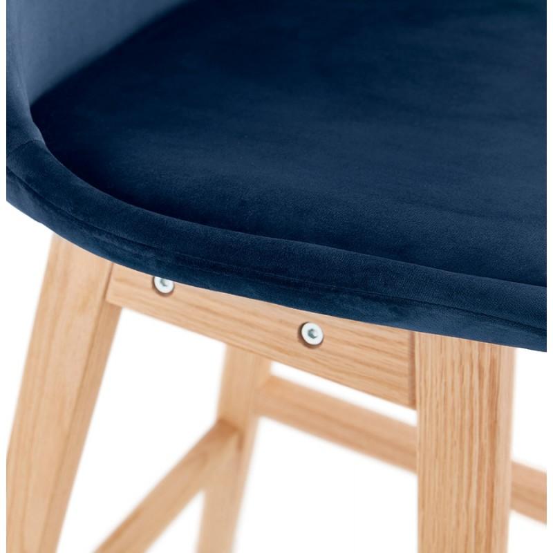 Tabouret de bar design scandinave en velours pieds couleur naturelle CAMY (bleu) - image 45671