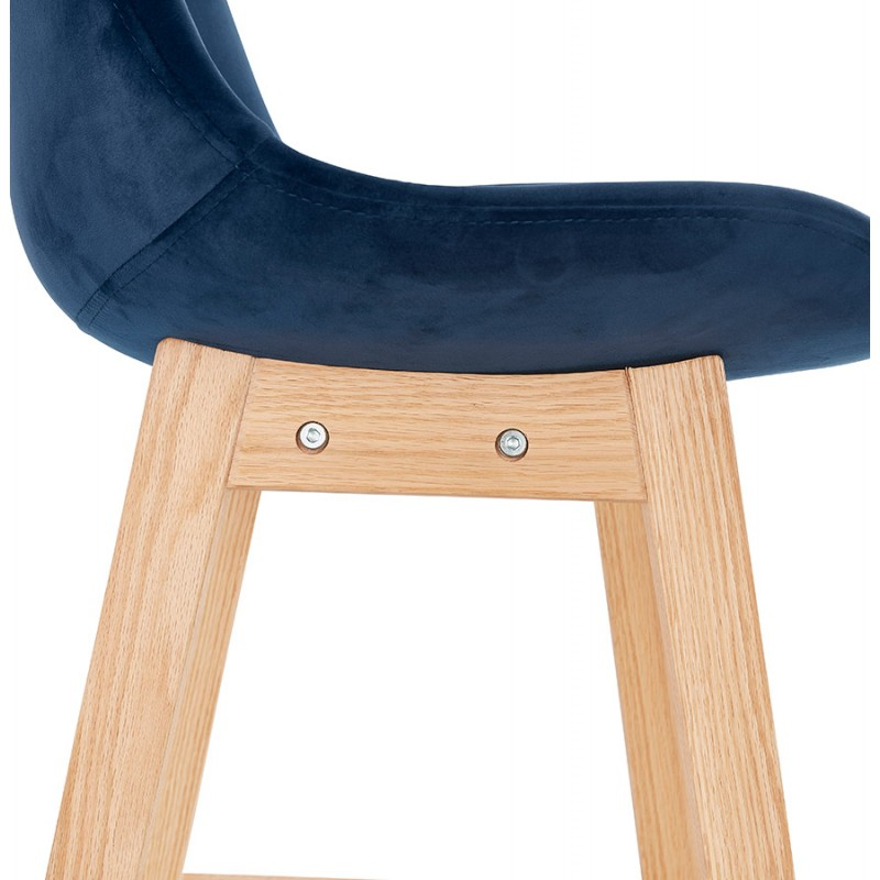 Tabouret de bar design scandinave en velours pieds couleur naturelle CAMY (bleu) - image 45672
