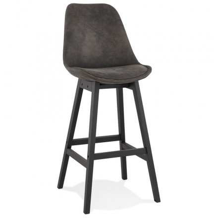 Vintage bar stool in microfiber black metal feet LILY (dark grey)