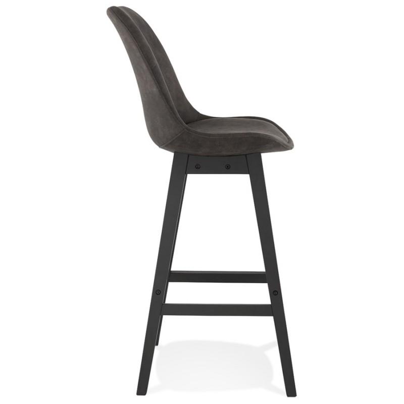 Vintage bar stool in microfiber black metal feet LILY (dark grey) - image 45686