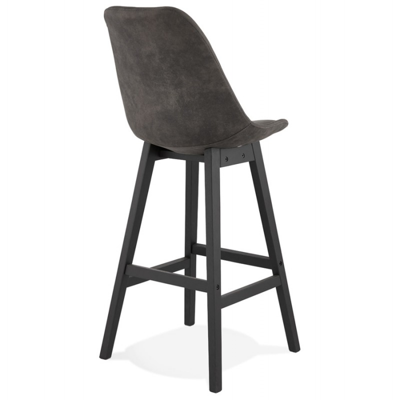 Vintage bar stool in microfiber black metal feet LILY (dark grey) - image 45687