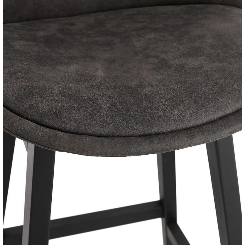 Tabouret de bar vintage en microfibre pieds métal noir LILY (gris foncé) - image 45690