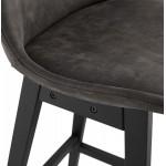 Vintage bar stool in microfiber black metal feet LILY (dark grey)
