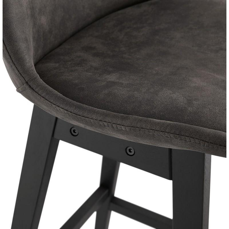 Vintage bar stool in microfiber black metal feet LILY (dark grey) - image 45691