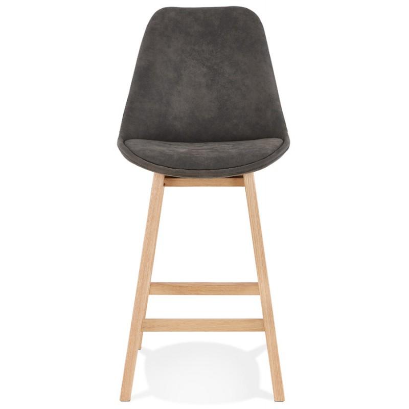 Mid-height bar pad Scandinavian design in microfiber feet natural color LILY MINI (dark grey) - image 45695