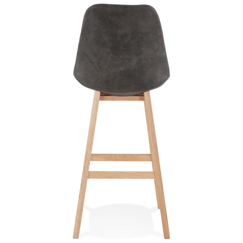 Scandinavian design bar stool in microfiber feet natural color LILY (dark grey) - image 45710