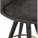 Vintage mid-height bar pad in microfiber black and gold feet VICKY MINI (dark grey)