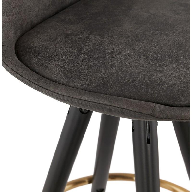 Tabouret de bar mi-hauteur vintage en microfibre pieds noirs et dorés VICKY MINI (gris foncé) - image 45725