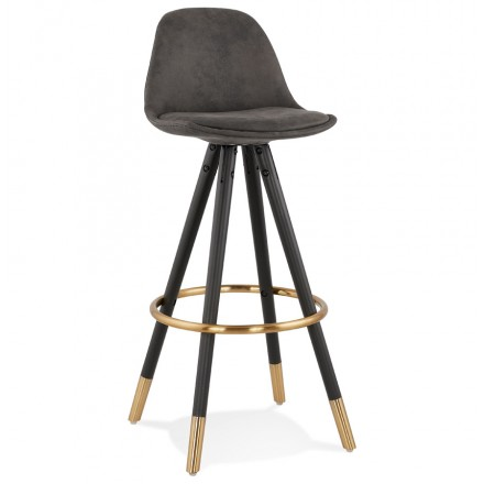 VINTAGE bar stool in microfiber black and gold feet VICKY (dark grey)