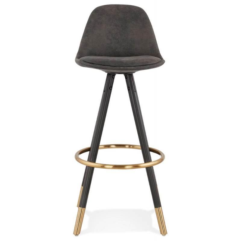 VINTAGE bar stool in microfiber black and gold feet VICKY (dark grey) - image 45730