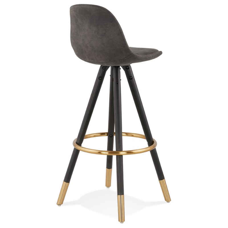 VINTAGE bar stool in microfiber black and gold feet VICKY (dark grey) - image 45732