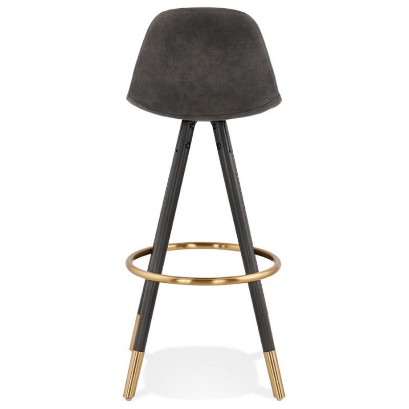 VINTAGE bar stool in microfiber black and gold feet VICKY (dark grey) - image 45733
