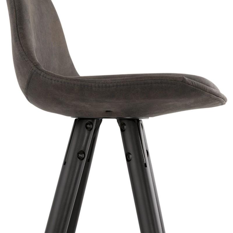 VINTAGE bar stool in microfiber black and gold feet VICKY (dark grey) - image 45737