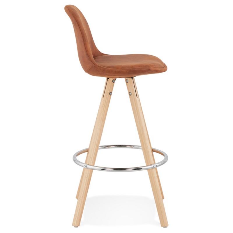 Scandinavian mid-height bar pad in microfiber feet wood natural color TALIA MINI (brown) - image 45742
