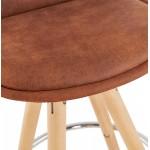 Tabouret de bar mi-hauteur scandinave en microfibre pieds bois couleur naturelle TALIA MINI (marron)