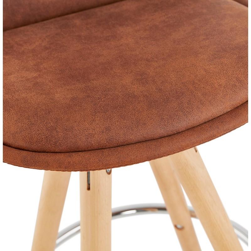 Tabouret de bar mi-hauteur scandinave en microfibre pieds bois couleur naturelle TALIA MINI (marron) - image 45746