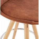 Cuscinetto scandinavo a media altezza in microfibra piedi legno colore naturale TALIA MINI (marrone)