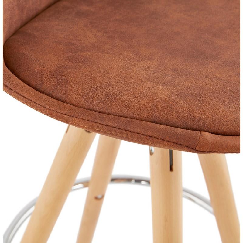 Tabouret de bar mi-hauteur scandinave en microfibre pieds bois couleur naturelle TALIA MINI (marron) - image 45747