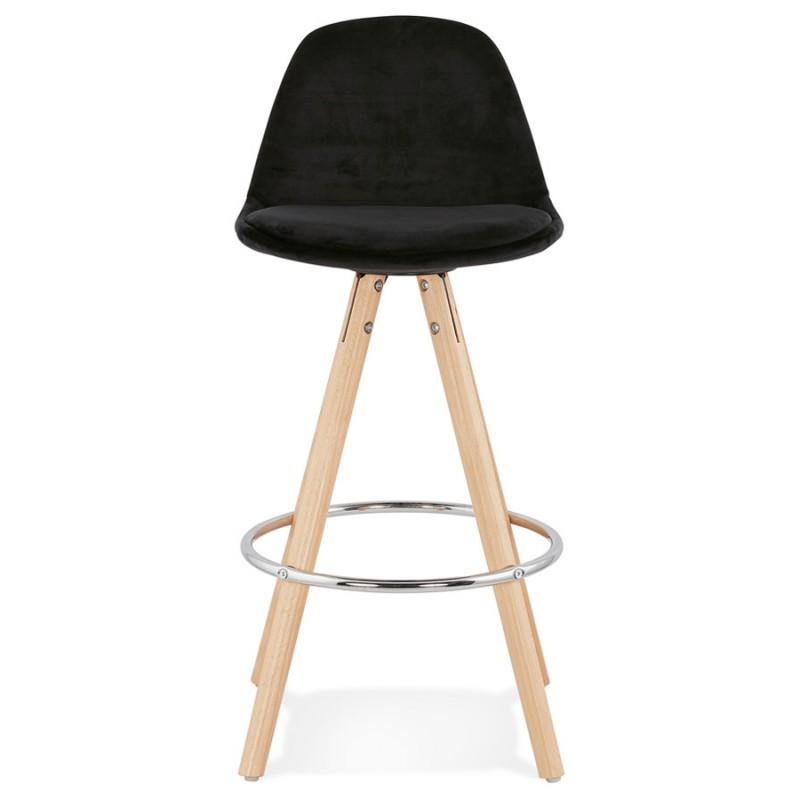 Tabouret de bar mi-hauteur scandinave en velours pieds bois couleur naturelle MERRY MINI (noir) - image 45754