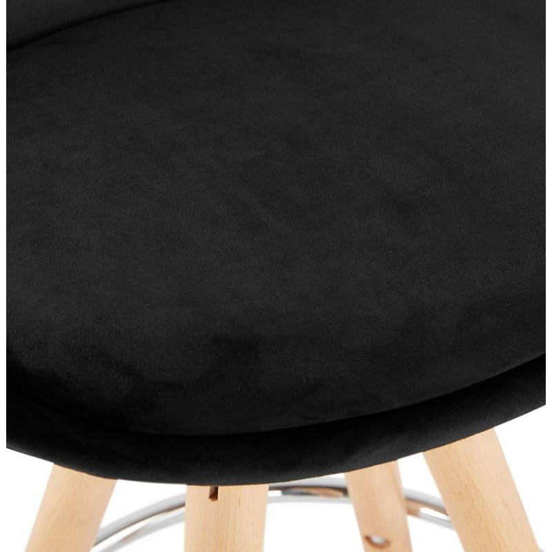 Tabouret de bar mi-hauteur scandinave en velours pieds bois couleur naturelle MERRY MINI (noir) - image 45759