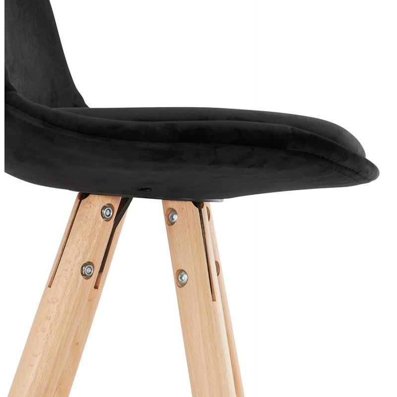 Tabouret de bar mi-hauteur scandinave en velours pieds bois couleur naturelle MERRY MINI (noir) - image 45761