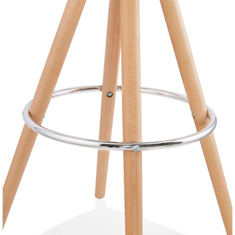 Tabouret de bar mi-hauteur scandinave en velours pieds bois couleur naturelle MERRY MINI (noir) - image 45762
