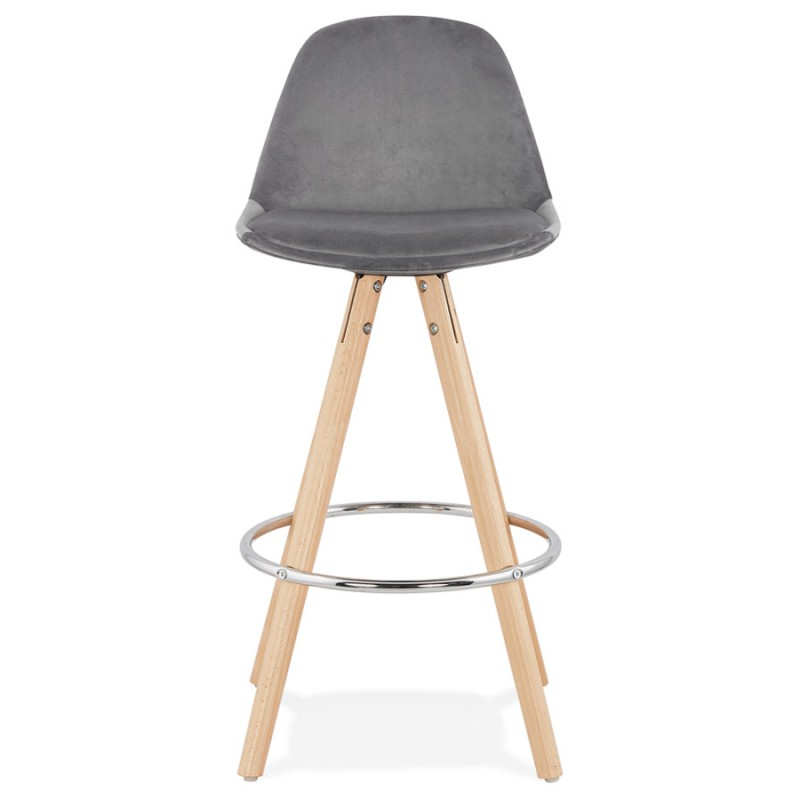 Scandinavian mid-height bar bar set in velvet feet natural-coloured wooden MERRY MINI (grey) - image 45767