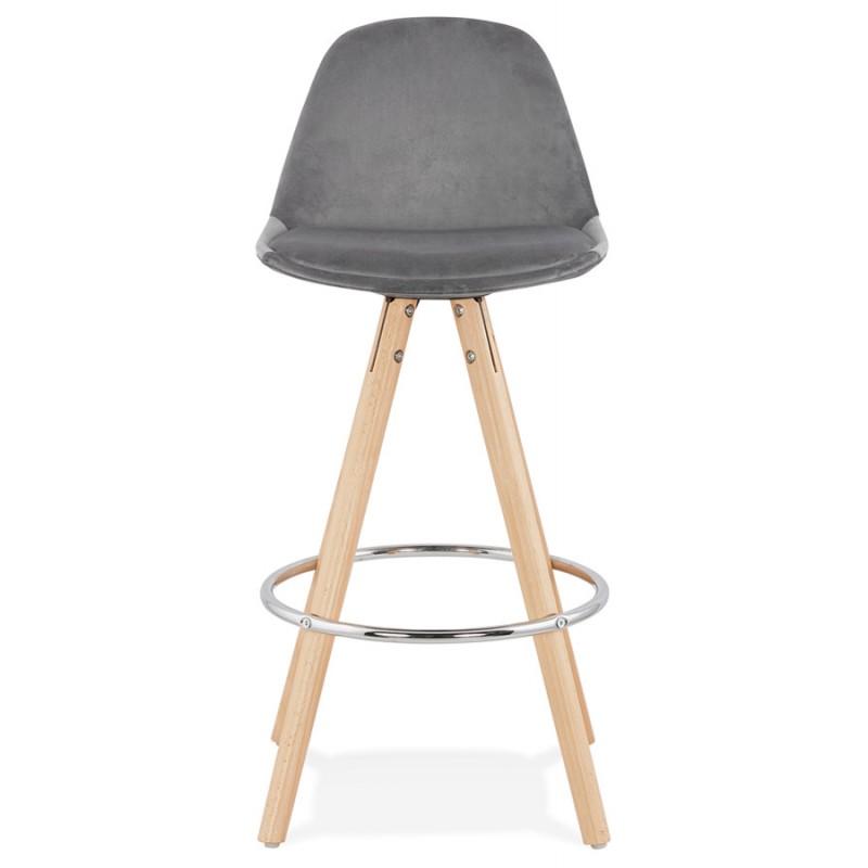 Tabouret de bar mi-hauteur scandinave en velours pieds bois couleur naturelle MERRY MINI (gris) - image 45767
