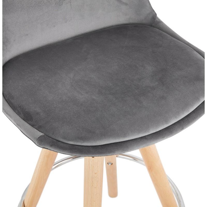 Tabouret de bar mi-hauteur scandinave en velours pieds bois couleur naturelle MERRY MINI (gris) - image 45771