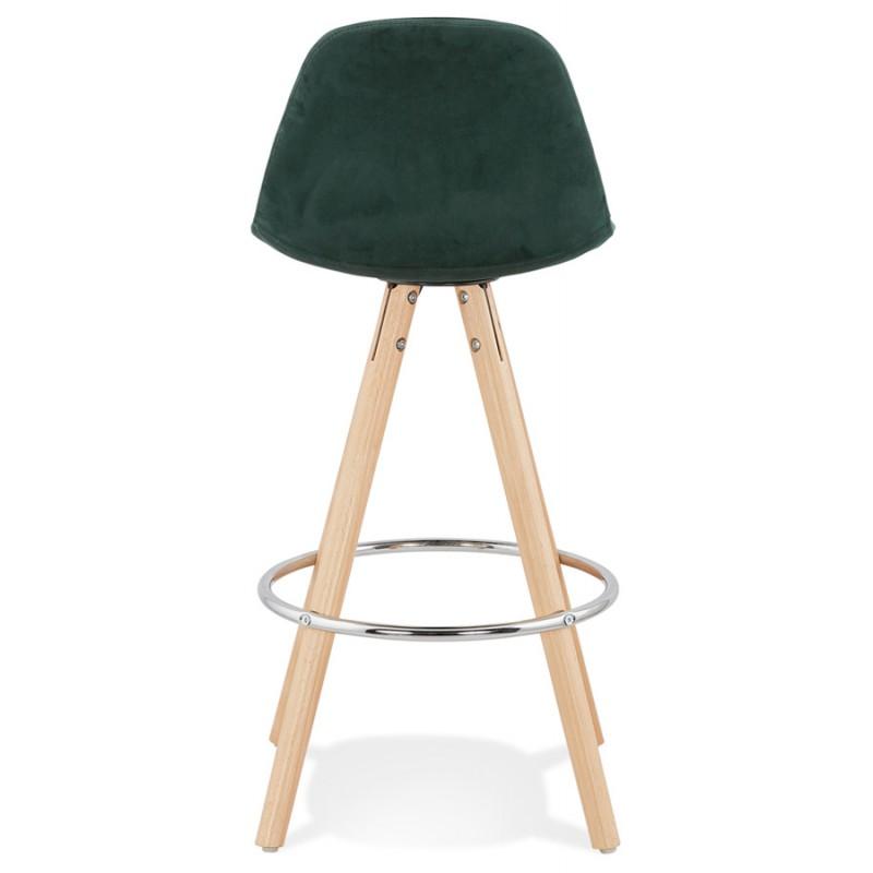 Tabouret de bar mi-hauteur scandinave en velours pieds bois couleur naturelle MERRY MINI (vert) - image 45783