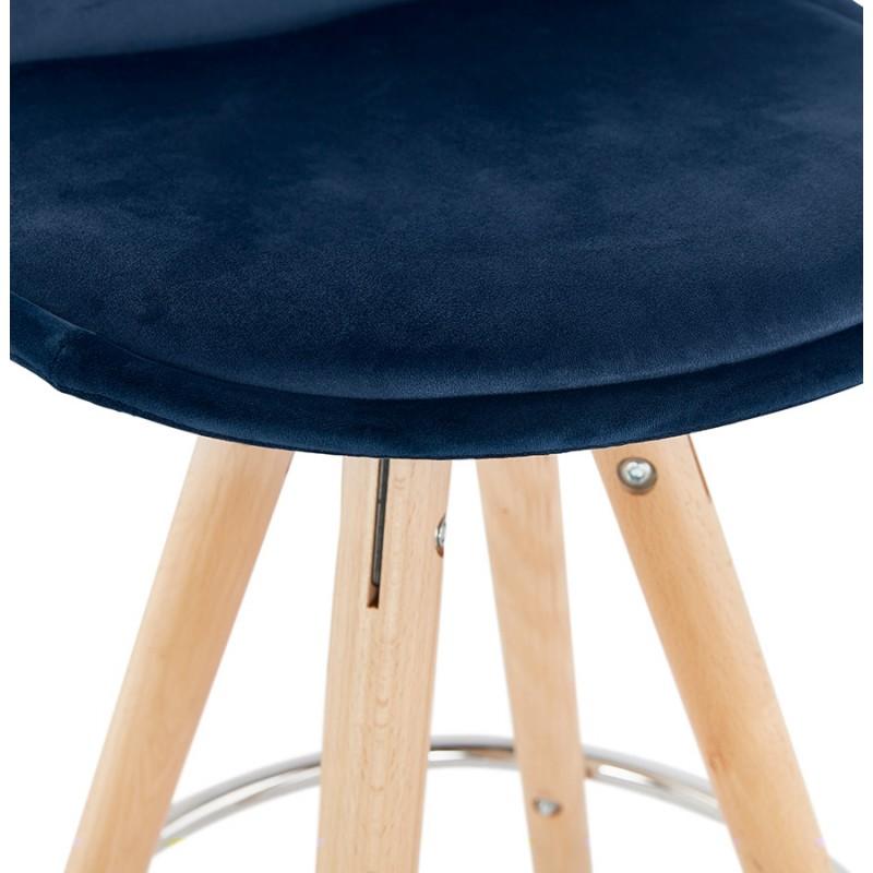 Bar scandinavo a media altezza intesa in velluto piedi in legno color naturale MERRY MINI (blu) - image 45798