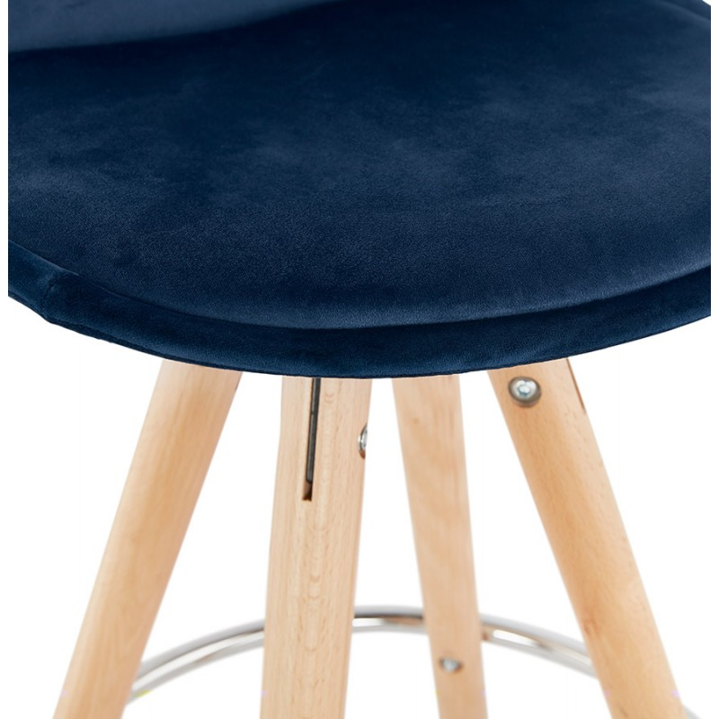 Tabouret de bar mi-hauteur scandinave en velours pieds bois couleur naturelle MERRY MINI (bleu) - image 45798