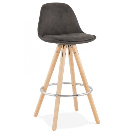 Scandinavian mid-height bar pad in microfiber feet wood natural color TALIA MINI (dark grey)