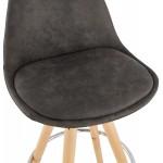 Cuscinetto a barre scandinave a media altezza in microfibra piedi legno colore naturale TALIA MINI (grigio scuro)