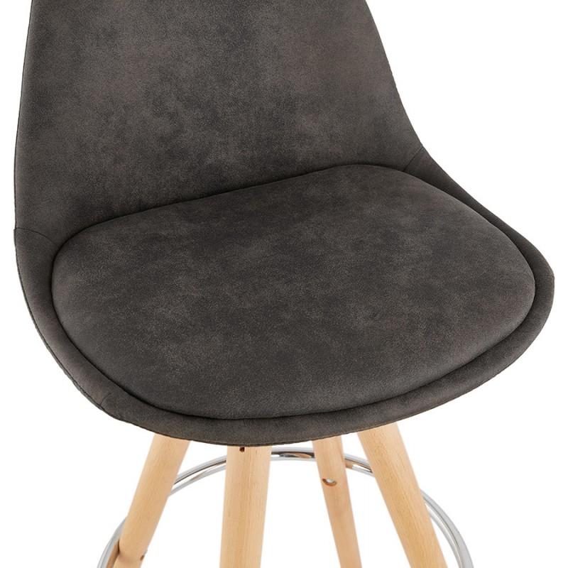 Tabouret de bar mi-hauteur scandinave en microfibre pieds bois couleur naturelle TALIA MINI (gris foncé) - image 45810