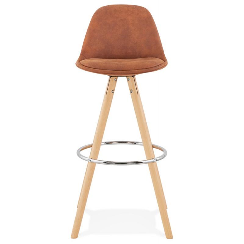 Scandinavian bar stool in microfiber feet wood natural color TALIA (brown) - image 45819