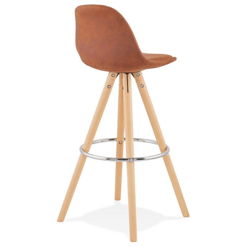 Scandinavian bar stool in microfiber feet wood natural color TALIA (brown) - image 45821