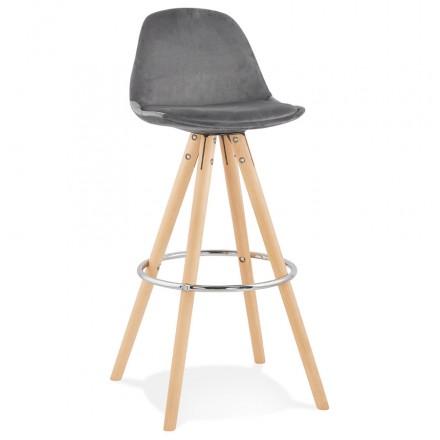 Tabouret de bar scandinave en velours pieds bois couleur naturelle MERRY (gris)