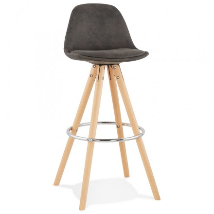 Scandinavian bar stool in microfiber feet wood natural color TALIA (dark grey)