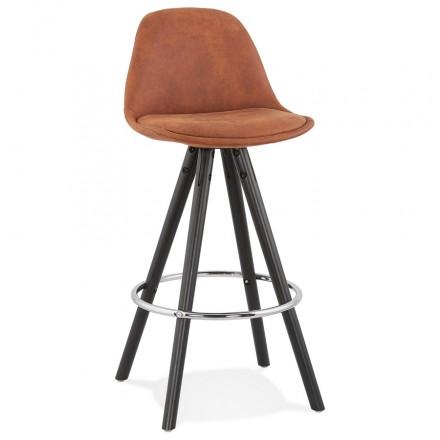 Almohadilla de barra vintage de altura media en microfibra pies de madera negros TALIA MINI (marrón)