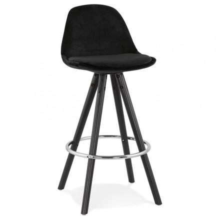 Tabouret de bar mi-hauteur design en velours pieds bois noir MERRY MINI (noir)