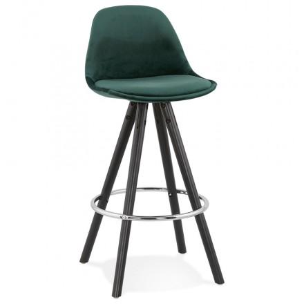 Mid-height bar set design in velvet black wooden feet MERRY MINI (green)