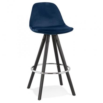 Tabouret de bar mi-hauteur design en velours pieds bois noir MERRY MINI (bleu)